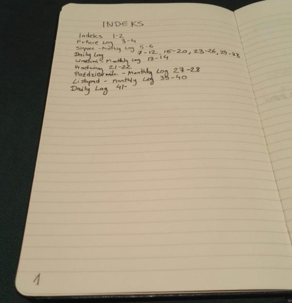 Indeks z mojego dziennika.